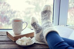 Warm socks w/cup of hot chocolate
